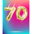 number seventy gold foil balloon on gradient vector image vector image