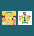 pediatrician female doctor with ill children set vector image vector image