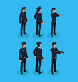 police officers in uniform working concept icons vector image vector image
