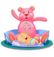 scene with baby sleeping in bed with giant teddy