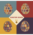Set of 4 geometrical patterned eggs vector image vector image