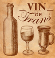 Sketch wine bottle and glass vector image vector image