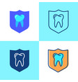 teeth protection icon set in flat and line style vector image vector image