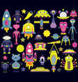 the cartoon set with flat aliens spaceships vector image