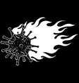 white silhouette corona virus burns with flames vector image