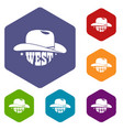 wild west cowboy hat icons hexahedron vector image vector image