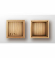 wooden box open and closed realistic vector image