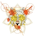 zentangle stylized tiger in triangle frame vector image vector image
