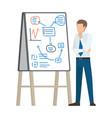 businessman thinking on plan vector image