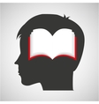 silhouette head boy student open book vector image