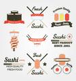 Sushi flat design vintage label vector image