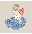 Cute angel on cloud hand drawn vector image