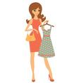 Pretty girl shopping for dress vector image