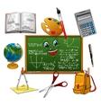 Blackboard cartoon character with school supplies vector image