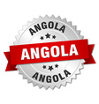 Angola round silver badge with red ribbon vector image vector image
