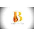 b orange letter design brush paint stroke gold vector image vector image