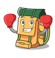 boxing backpack character cartoon style vector image vector image