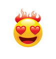 burn fire emoji icon 3d face smile for love chat vector image