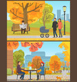 cafe customers couple and park in autumn vector image vector image