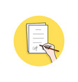 cartoon hand signed pact or document vector image