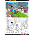 cartoon people group in city coloring book vector image vector image