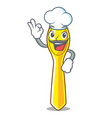 chef cartoon plastic spoon on dining table vector image vector image