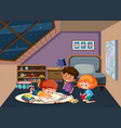children studying in the bedroom vector image vector image