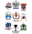 colored sports tournaments emblems set vector image vector image