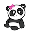 cute sitting panda with bow vector image vector image