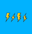 electric lightning set icons on a blue vector image vector image