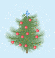 Furry Christmas tree with red balls and a crystal vector image vector image