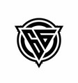 gg logo with triangle shape and circle vector image vector image
