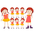 Girl with different facial expressions vector image