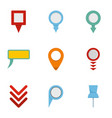 gps pointer icons set flat style vector image vector image