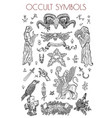 graphic set with occult symbols vector image vector image