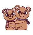 happy valentines day cute couple bear vector image vector image