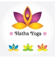 Hatha Yoga sign lotus flower in different colors vector image