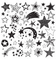 holiday set of hand drawn stars festive vector image vector image