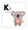 letter k funny alphabet for children vector image vector image