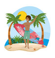 man wearing bathing shorts with surfboard in the vector image vector image