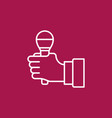 microphone in hand outline icon on red vector image