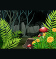 night time in the forest vector image vector image