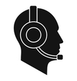Operator in headset icon simple style vector image vector image