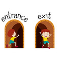 opposite wordcard for entrance and exit vector image vector image