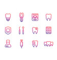 oral medicine stomatology teeth line icons set vector image