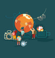 people characters adventure tourism travel abroad vector image vector image