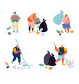 people throwing and collecting trash set garbage vector image vector image