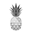 pineapple with hearts tropical silver exotic vector image vector image