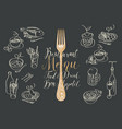 restaurant menu with fork and sketches dishes vector image vector image