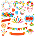 Set Collection of Festive Colorful Carnival vector image